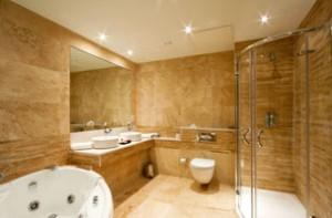 Modern bathroom with wood walls